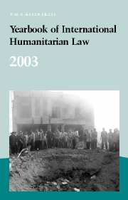 Yearbook of International Humanitarian Law - Volume 6, 2003